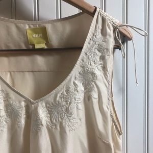 Anthro/Maeve Embroidered Silk Sleeveless Top